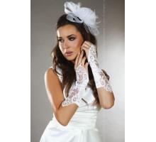 Атласные перчатки-митенки с цветочным узором