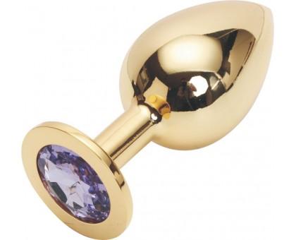 Золотистая анальная пробка GOLDEN PLUG Large со светло-сиреневым кристаллом - 9,5 см.