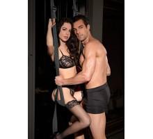 Черные секс-качели для двери Deluxe Door Swing