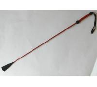 Длинный плетеный стек с красной лаковой ручкой - 85 см.