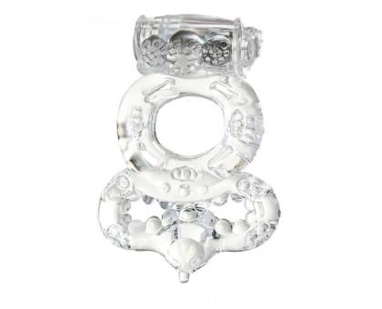 Прозрачное эрекционное кольцо с вибратором  и подхватом