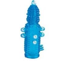 Голубая эластичная насадка на пенис с жемчужинами, точками и шипами Pearl Stimulator - 11,5 см.